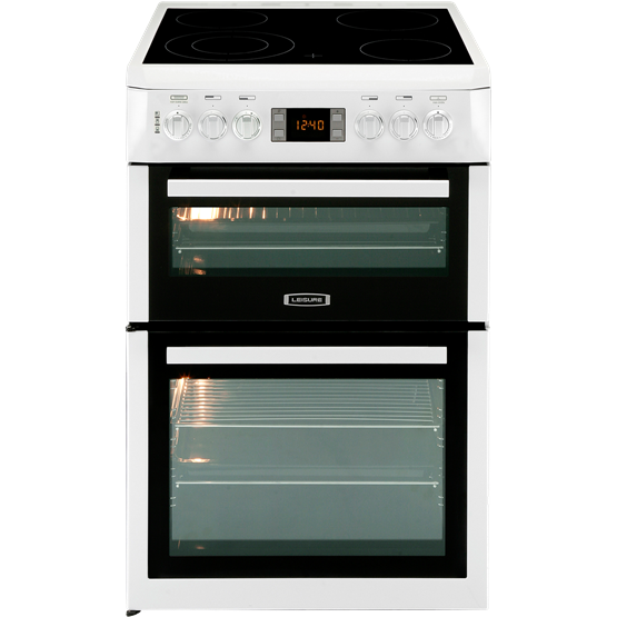60cm Electric cooker with twin ovens and four zone ceramic hob